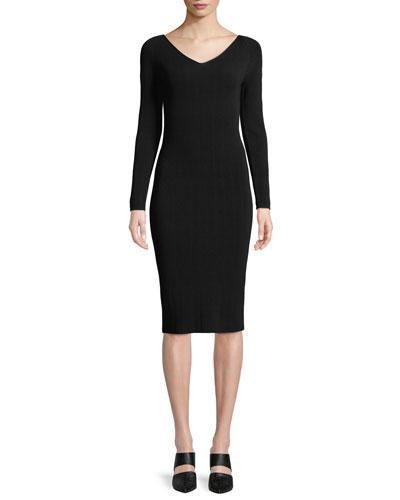 Ribbed V-Neck Long-Sleeve Midi Dress