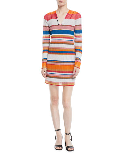 Katie Striped Long-Sleeve Mini Dress
