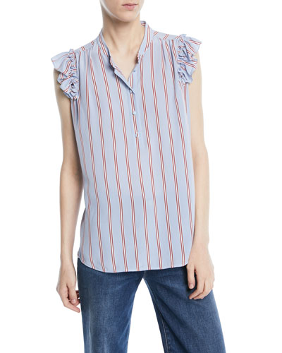 Striped Sleeveless Ruffle Button-Front Top