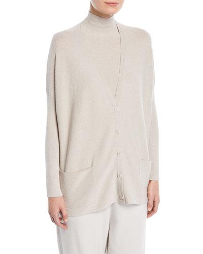 V-Neck Button-Front Cashmere-Blend Metallic-Knit Cardigan
