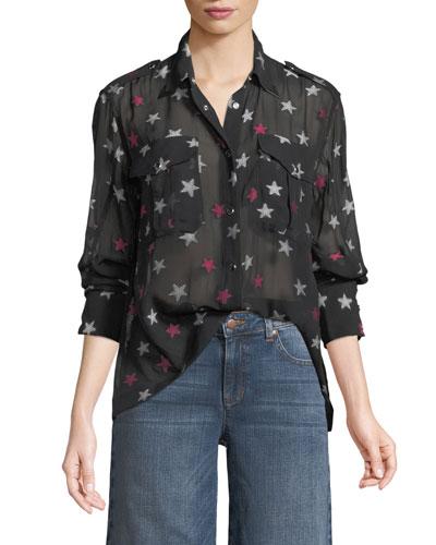 Pearson Button-Down Star-Print Sheer Silk Shirt