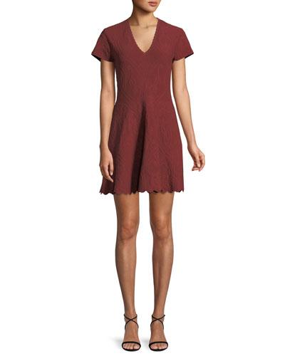 Matte Jacquard Short-Sleeve Mini Dress