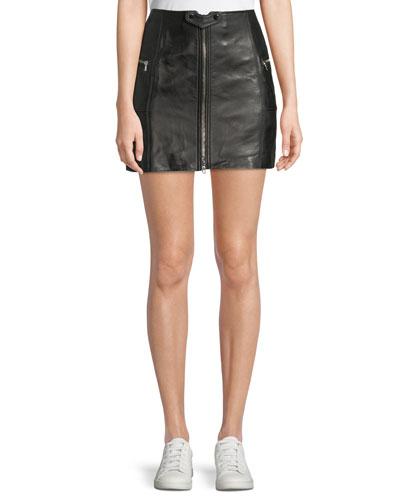 Zip-Front Leather Mini Skirt