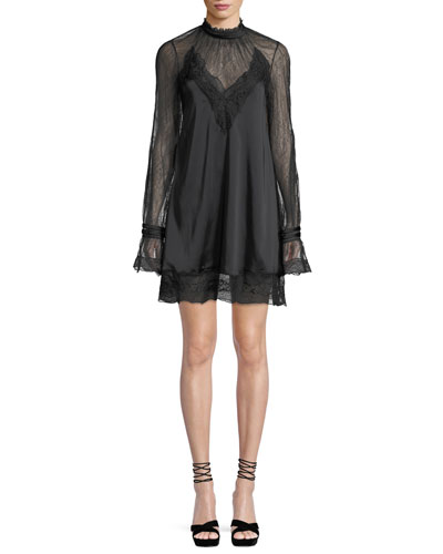 Lace Sateen High-Neck Open-Back Mini Dress