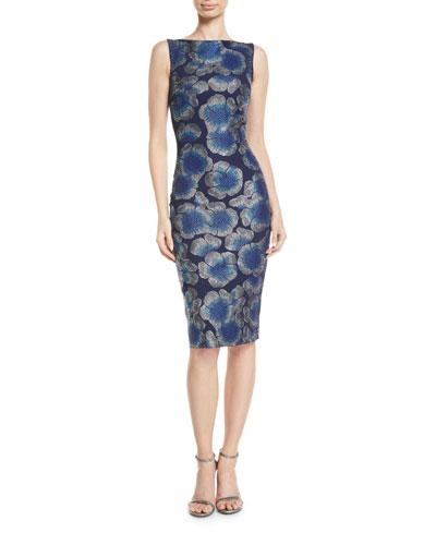 Derya Sleeveless Mosaic Floral-Print Dress