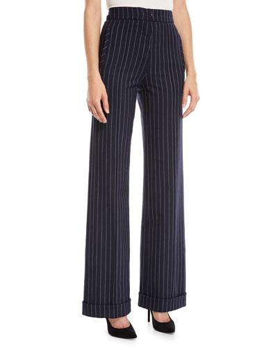 Newton Pinstripe Tailored Wide-Leg Pants