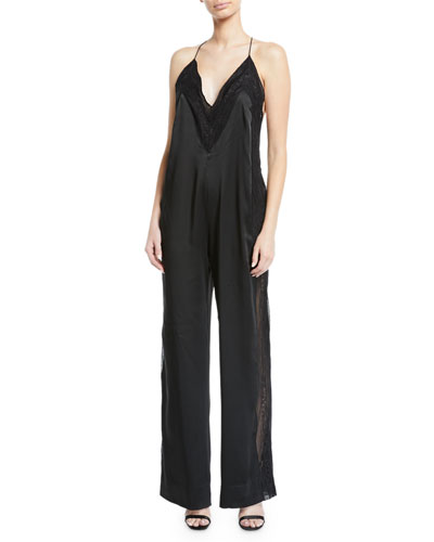 Lingerie Sateen Jumpsuit with Lace Trim