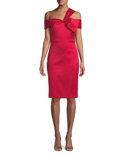 Asymmetric Bow-Shoulder Dress