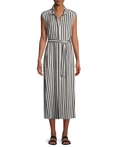 Sleeveless Belted Striped Long Coverup Dress