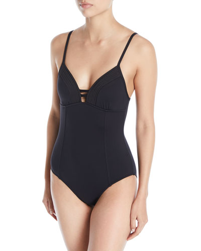 Quilted V-Neck One-Piece Swimsuit
