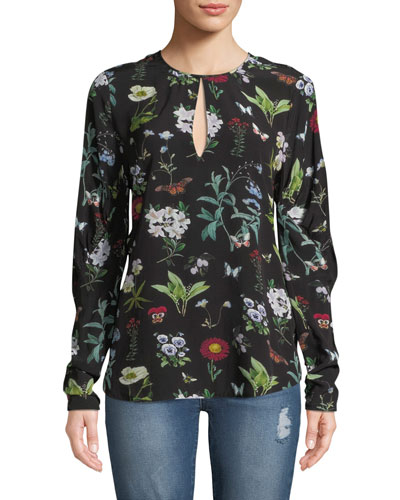 Liseli Floral Long-Sleeve Keyhole Top