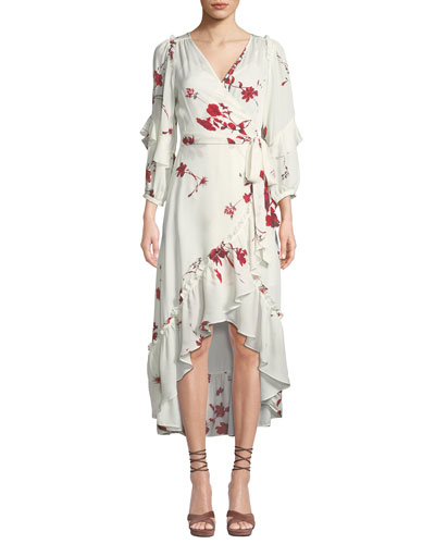 Anawrette Floral Ruffle High-Low Wrap Dress