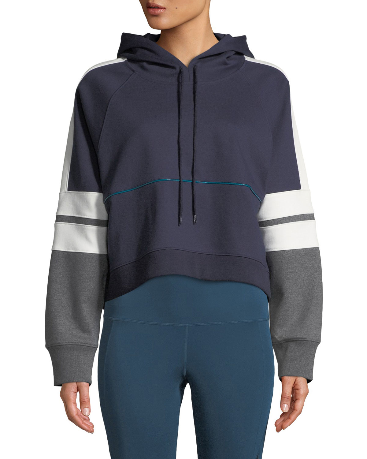 Carson Boxy Colorblock Cropped Hoodie in Blue Pattern