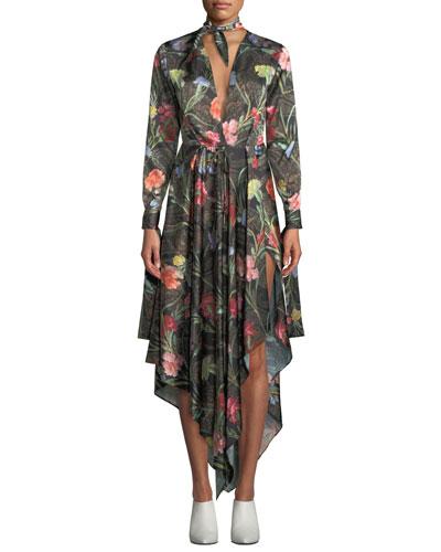 Tie-Neck Long-Sleeve Floral-Print Foulard Draped Dress