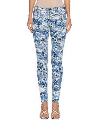 Tapestry-Print Skinny-Leg Jeans