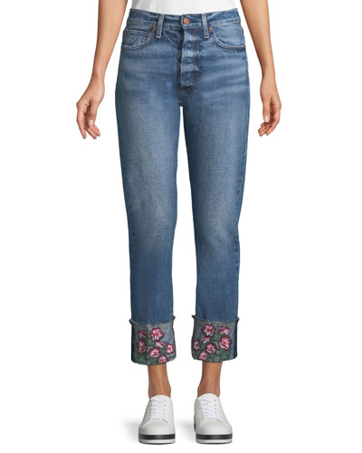 Amazing Cropped Embroidered Straight Jeans