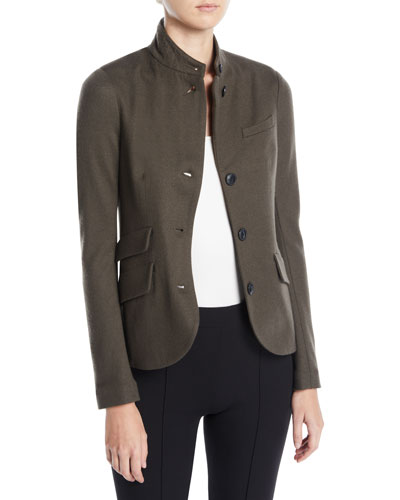 Slade Three-Button Wool Blazer