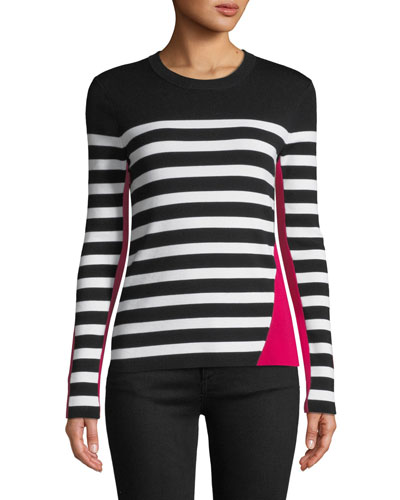 Cecilee Crewneck Striped Colorblock Pullover Sweater