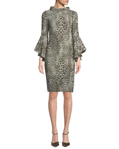Flair Leopard-Print Dress w/ Trumpet Sleeves