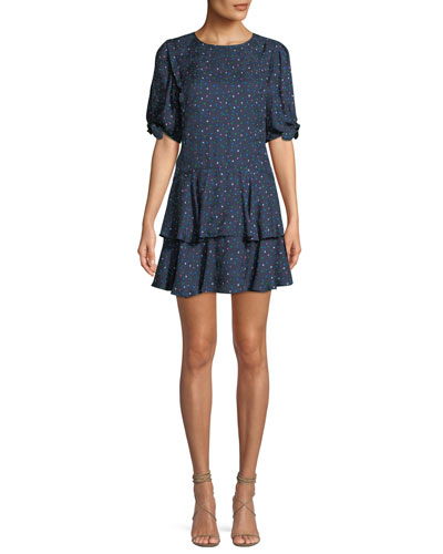679c4a0983 Round-Neck Short-Sleeve Speckled-Dot Silk Mini Dress Quick Look. Rebecca  Taylor