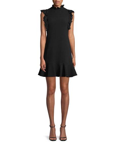 Sleeveless Moss Crepe A-Line Short Dress w/ Lace Trim