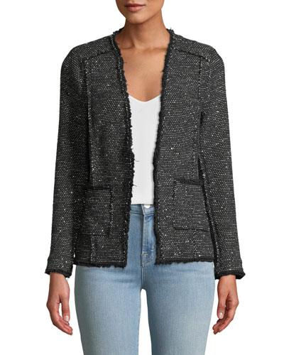 Sparkle Stretch Tweed Jacket w/ Frayed Edges