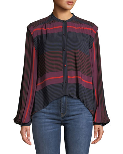 Ishana Draped Button-Down Striped Top