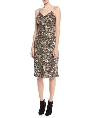 Hasana Sequin Midi-Length Slip Dress