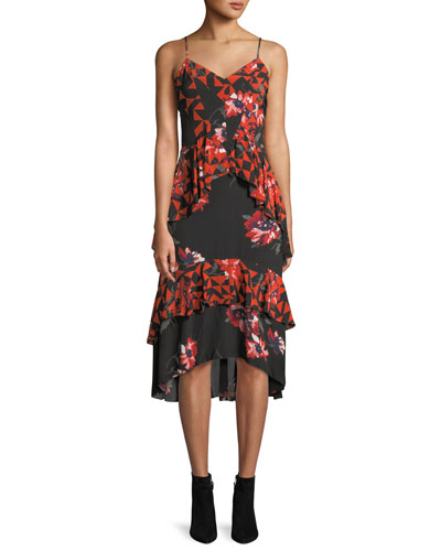 Ronelle Geometric Floral Ruffle Midi Dress