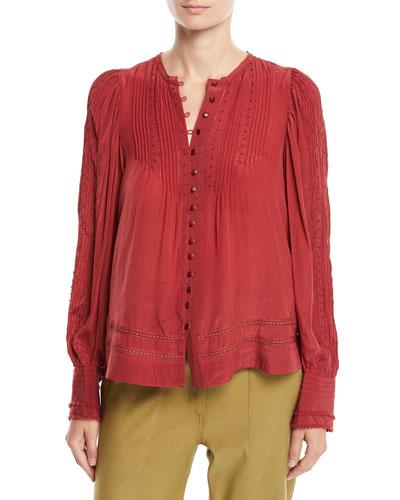 Azedine Button-Front Long-Sleeve Peasant Blouse