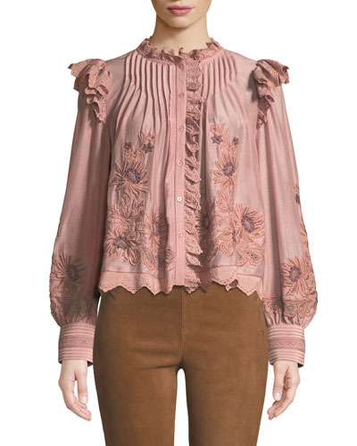 Greta Button-Front Long-Sleeve Embroidered Lace Peasant Blouse
