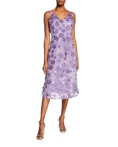 Tulle Tea-Length Dress w/ Floral Appliques