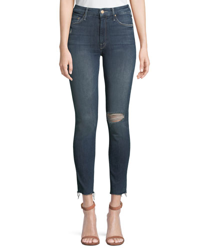 Looker High-Waist Distressed Ankle Skinny Jeans