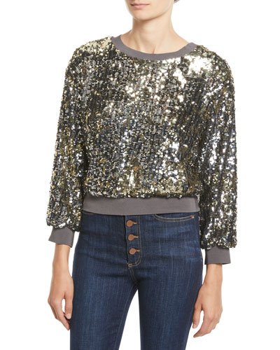 Smith Sequin Ribbed-Trim Cropped Sweatshirt