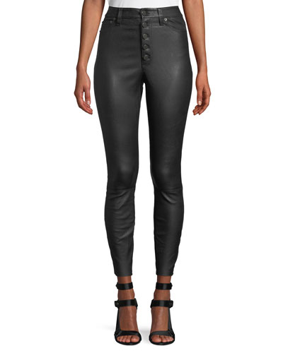 Mikah High-Rise Button-Front Leather Skinny Pants