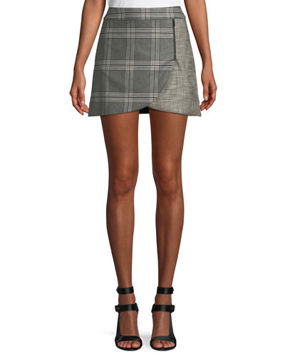 246738c97b Lennon Colorblock Plaid Draped Mini Skirt