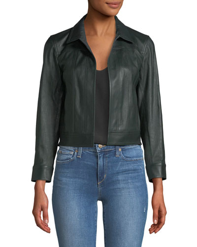 bfe09aa619 Shrunken Open-Front Leather Jacket Quick Look. Theory