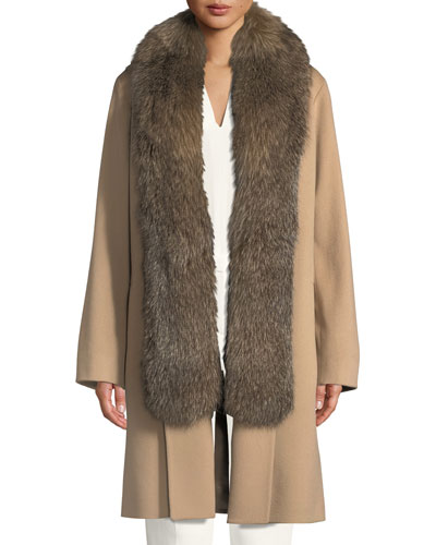 Wool Clutch Coat w/ Fox Fur Tuxedo