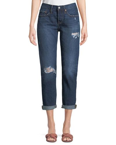501 Distressed Tapered Boyfriend Jeans
