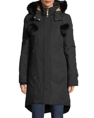 Governor Lake Long Parka w/ Fur Trim & Pompoms
