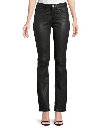 Le Mini Boot-Cut Leather Pants