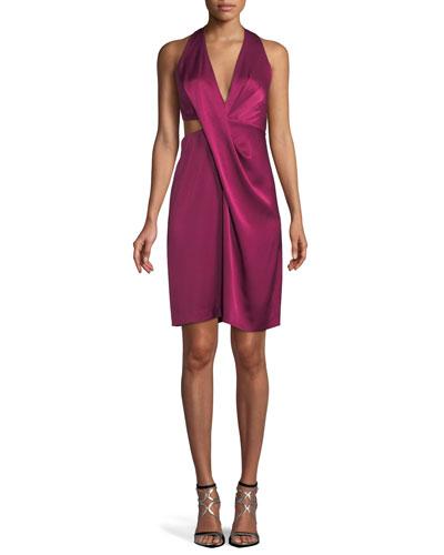Satin Halter Dress w/ Side Cutout