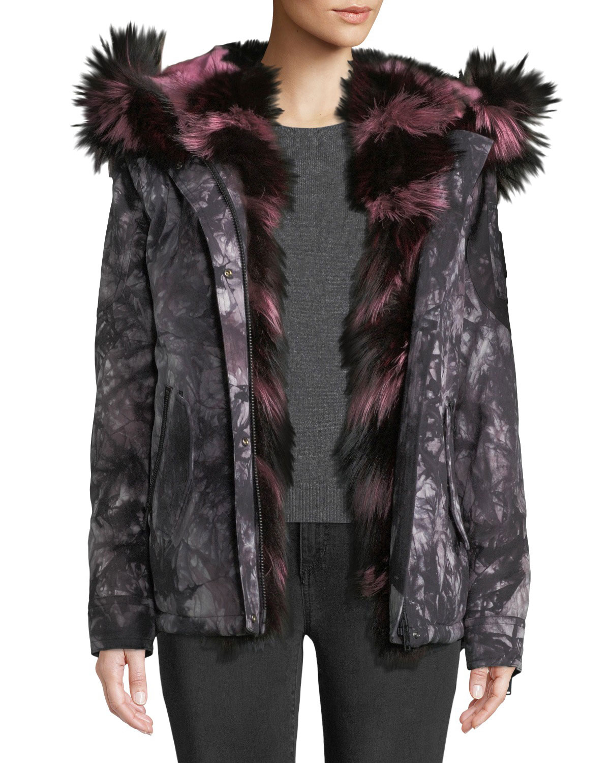 Moose Knuckles RIVIERE DU-LOUP PRINTED JACKET W/ HOOD & FUR TRIM