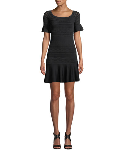 Maila Short-Sleeve Knit Flounce Dress