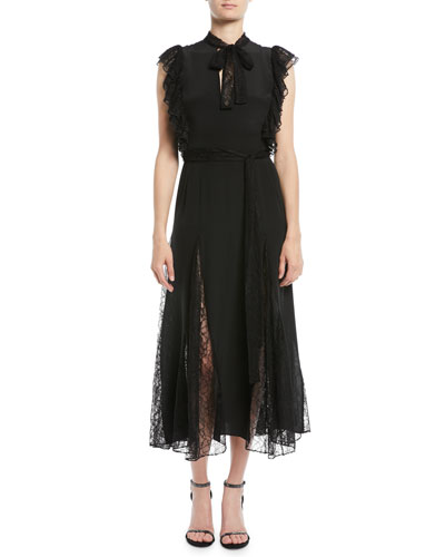 Sterling Sleeveless Lace Godet Midi Dress