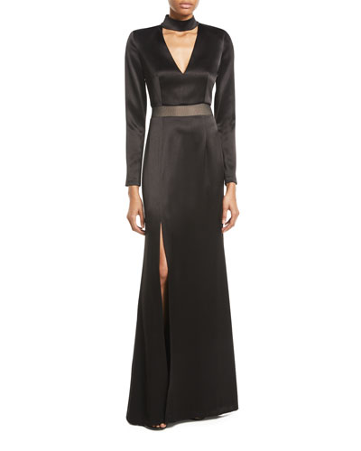 Arial Mock-Neck Long-Sleeve Gown 91147877ee1a4