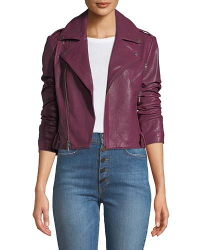 Cody Crop Lamb Leather Moto Jacket