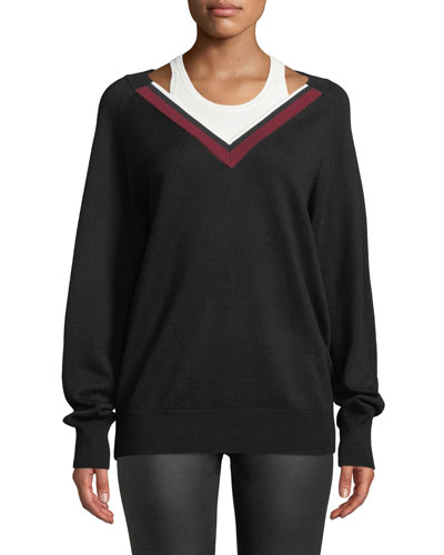 Varsity Trim V-Neck Wool Sweater w/ Tank