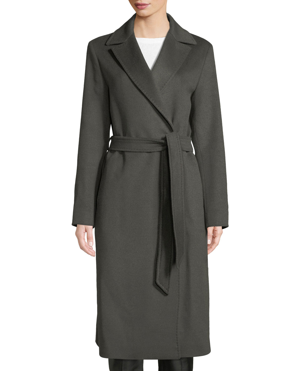 CINZIA ROCCA SINGLE-BREASTED BELTED WOOL WRAP COAT