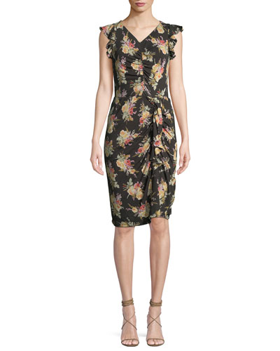 412b1bfd48b Ruched Sleeveless Floral-Print Ruffle Dress Quick Look. Rebecca Taylor